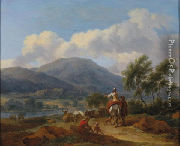 Southern Landscapes Withshepherds Oil Painting - Nicolaes Berchem