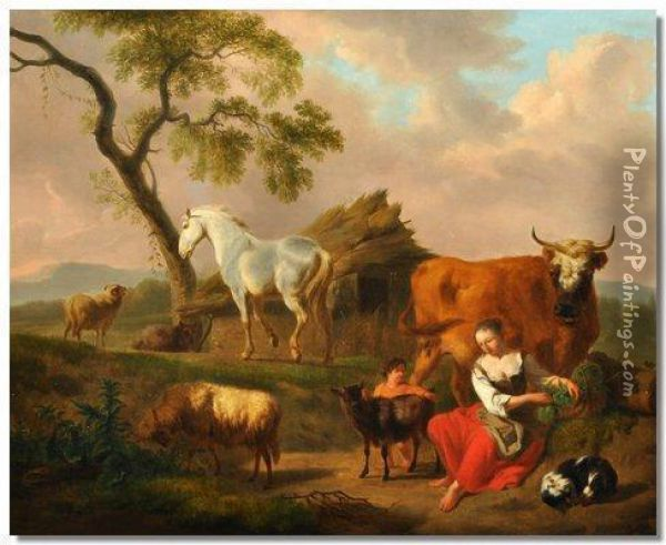 Woman And Child With A Dog Cow,horse,goat And Sheep. Oil Painting - Nicolaes Berchem