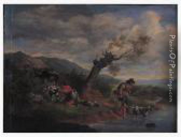 Peasant Couple With Livestock By The River Oil Painting - Nicolaes Berchem