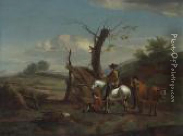 A Gentleman On A White Horse With Other Figures Oil Painting - Nicolaes Berchem