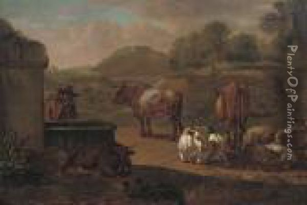 A Traveller With Cattle And Sheep At A Watering Hole Oil Painting - Nicolaes Berchem