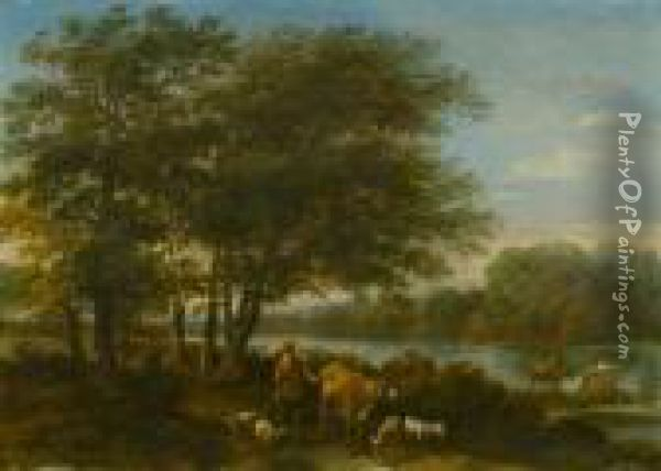 Wooden Landscape With Herdsman And His Cattle. Oil Painting - Nicolaes Berchem