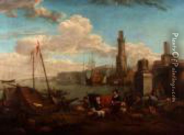 A Busy Dutch Harbour Scene With Figures Oil Painting - Nicolaes Berchem