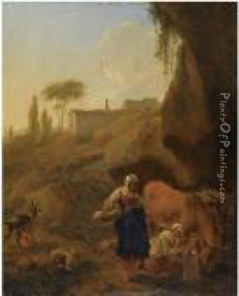 A Rocky Southern Landcape With  Two Peasant Women With Their Flockand Cattle Halting Near A Stream Oil Painting - Nicolaes Berchem