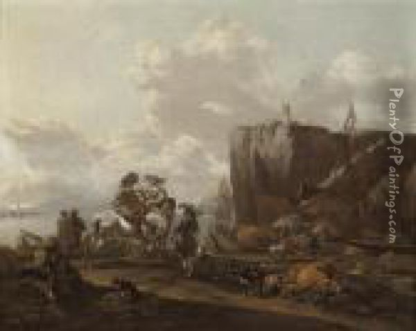 A Coastal Landscape With  Merchants On Horseback, A Drover Loadingcattle Onto A Boat, And A Town  Beyond Oil Painting - Nicolaes Berchem