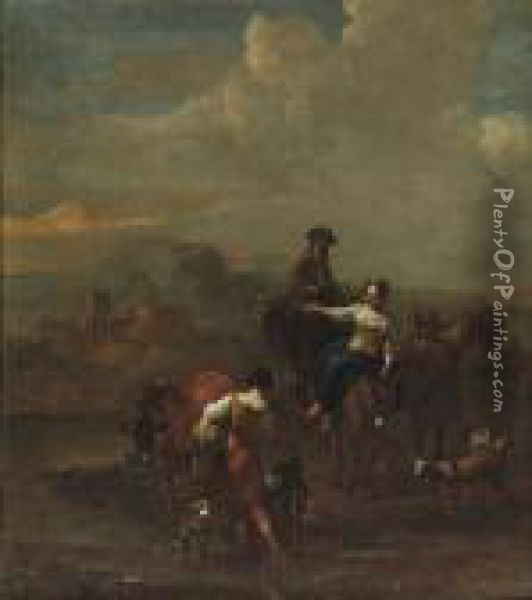 Herdsmen And Their Cattle In An Italianate River Landscape Oil Painting - Nicolaes Berchem