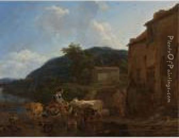 A River Landscape With Cattle, Peasants And Their Horses At A Watering-place Oil Painting - Nicolaes Berchem