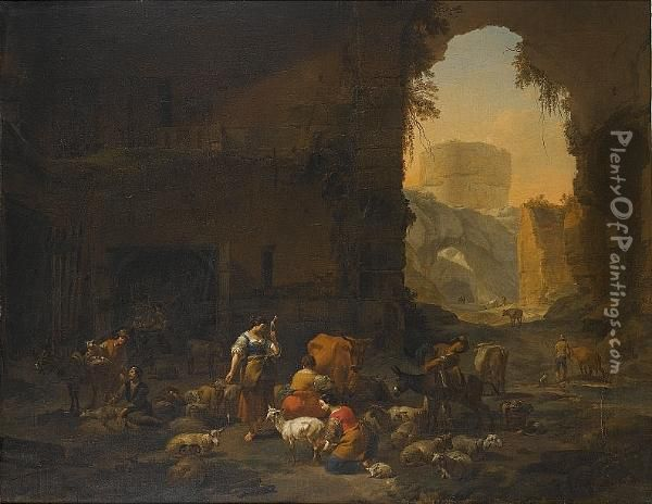 Milkmaids And Shepherds With  Their Flock At The Mouth Of A Grotto, A Drover Watering His Cattle  Beyond Oil Painting - Nicolaes Berchem