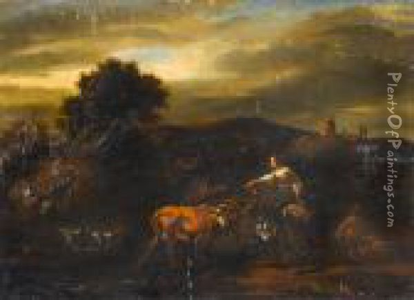 An Italianate Landcape With A Cowherd And Milkmaid Watering Their Livestock Oil Painting - Nicolaes Berchem
