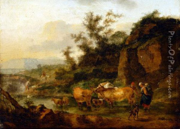Horned Cattle And Figures, Watering By A Stream Oil Painting - Nicolaes Berchem
