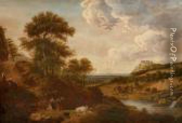 A Wooded Landscape With Bentheim Castle In The Distance Oil Painting - Nicolaes Berchem