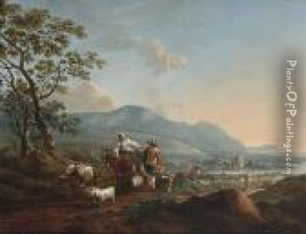 River Landscape With Shepherds 