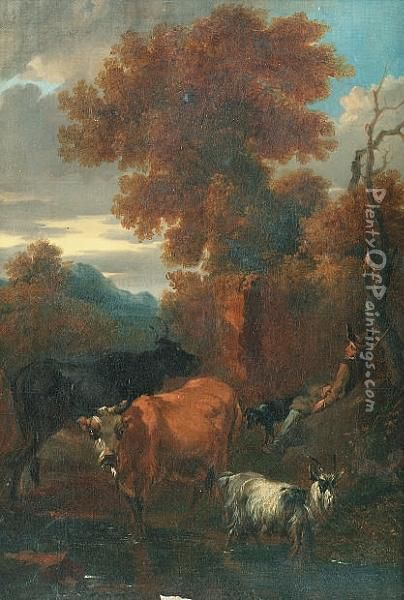 A Drover Resting Beside A Stream With His Cattle And A Goat Nearby Oil Painting - Nicolaes Berchem