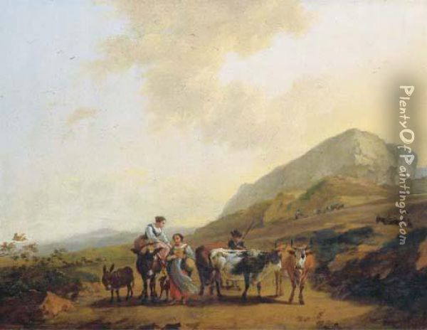 An Italianate Landscape With Two Women And A Shepherd And Hiscattle Oil Painting - Nicolaes Berchem