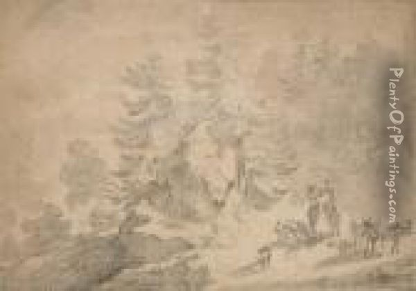 A Wooded Hillside Landscape  Scene With A Traveller Conversing With A Woman On A Donkey, Cattle And  Sheep In The Foreground Oil Painting - Nicolaes Berchem