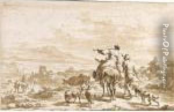 Panoramic Landscape With Peasants And Their Animals In The Foreground Oil Painting - Nicolaes Berchem