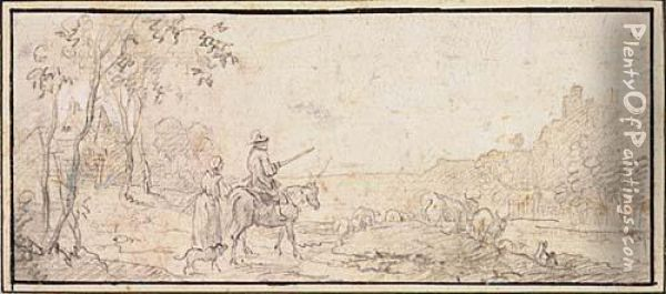 Landscape With A Cowherd With His Wife And Dog Watching Cattle From A Hill Oil Painting - Nicolaes Berchem