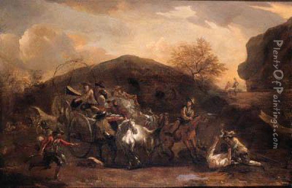 Travellers On A Wagon Ambushed On A Mountain Pass Oil Painting - Nicolaes Berchem