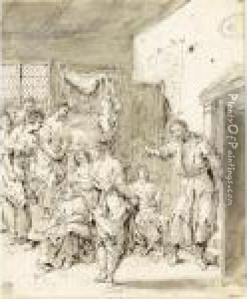 Women In A Room Disturbed By A Man Coming Through A Door Oil Painting - Leonaert Bramer