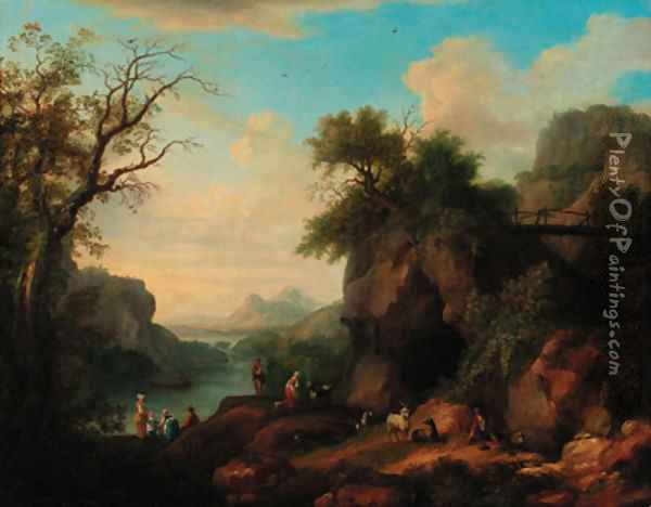 A mountainous wooded river landscape with a goatherd and flock, peasant women in the foreground Oil Painting - Jakob Philippe Hackert