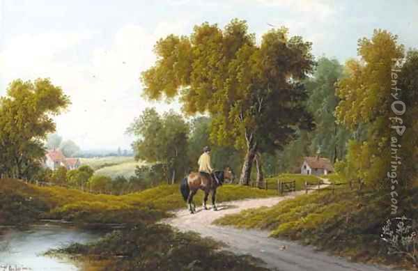 A horseman by a pond in a wooded landscape; and A horse and cart by a cottage Oil Painting - Etty Horton