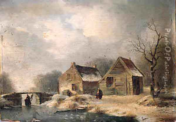A wooded winter landscape with peasants walking along a frozen waterway by a cottage Oil Painting - Hendrik Manfred Haus