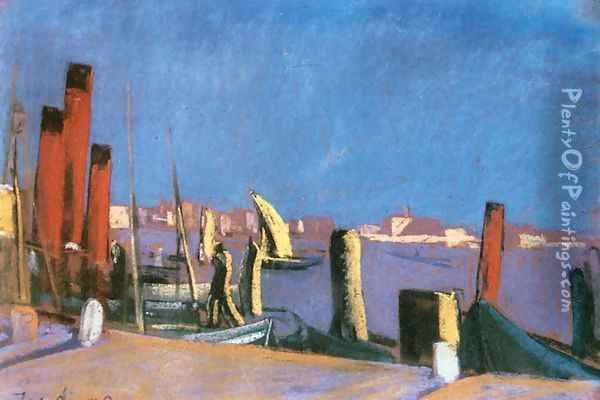Harbour in Venice 1930 Oil Painting - David Jandi