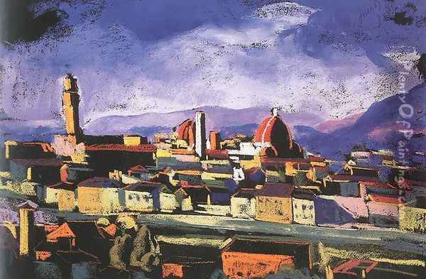View of Florence 1928 Oil Painting - David Jandi