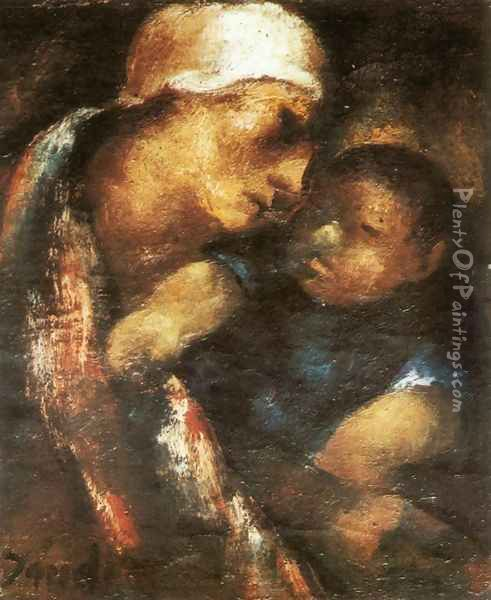 Mother and Child 1922 Oil Painting - David Jandi