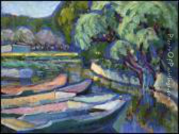 Boats In Brittany Oil Painting - Emily M. Carr