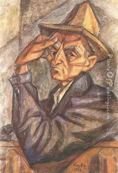 Self portrait with Yellow Hat 1965 Oil Painting - Janos Kmetty