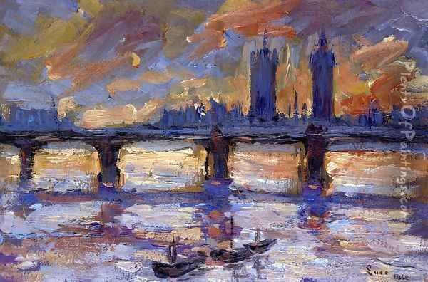 London, the Thames, Evening Oil Painting - Maximilien Luce