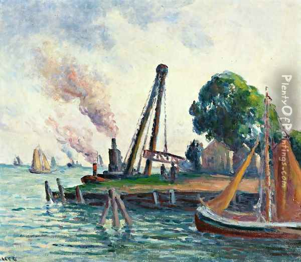 The Port of Amsterdam Oil Painting - Maximilien Luce