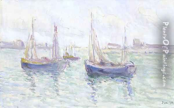 Boats in port Oil Painting - Maximilien Luce