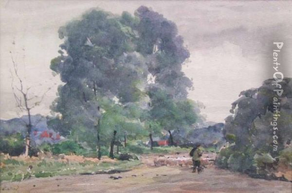 Driving Sheep Near Woking Oil Painting - Claude Hayes