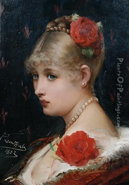 Roses And Pearls - Portrait Of A Youngwoman Oil Painting - Leon Herbo