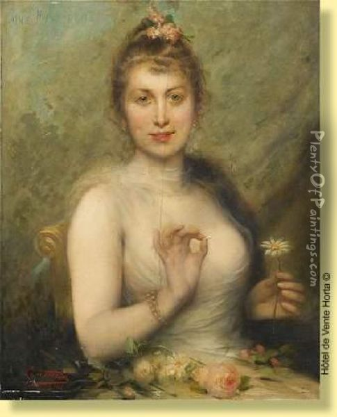 Une Marguerite Oil Painting - Leon Herbo