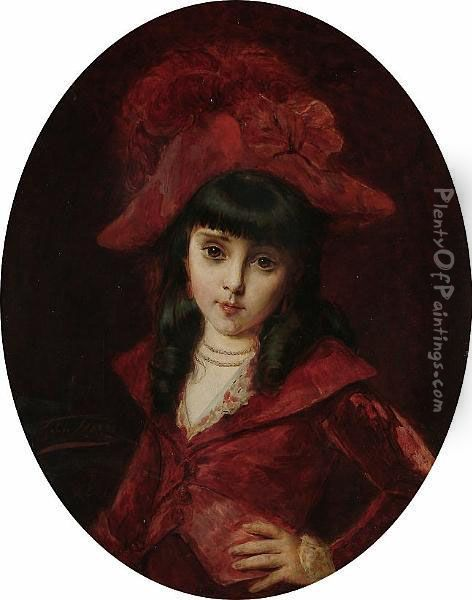 Portrait Of A Girl In Red Oil Painting - Leon Herbo