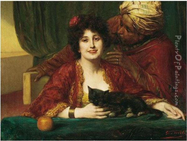 Caresses Oil Painting - Leon Herbo