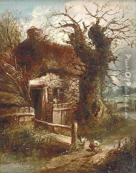 A cottage by a stream Oil Painting - Charles Morris