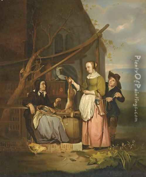 The poultry seller 2 Oil Painting - Gabriel Metsu