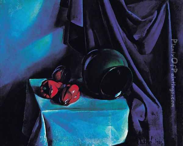 Still Life with a Jug Still Life with Blue Drapery 1920 Oil Painting - Karoly Patko