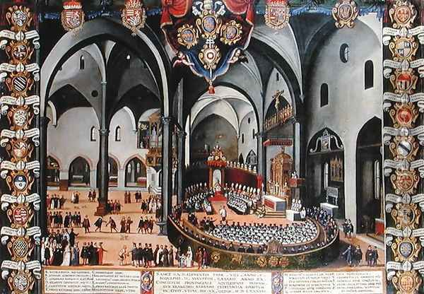 Organ door depicting the Council of Aquileia in 1596 at Udine Oil Painting - Pozzerrato, Lodovico