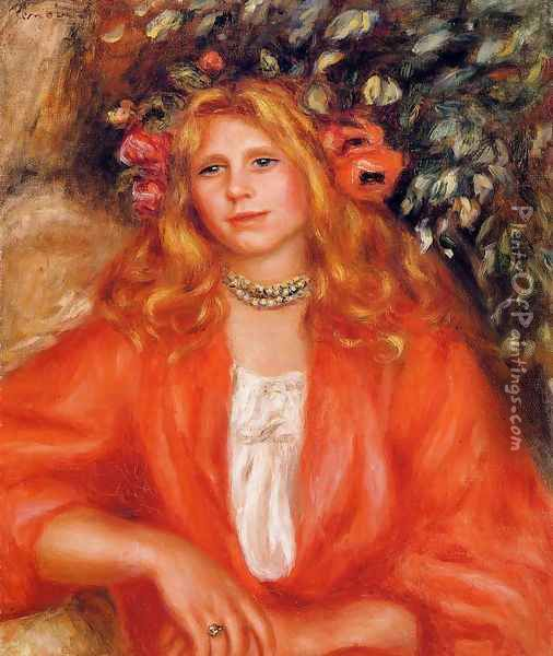 Young Woman Wearing A Garland Of Flowers Oil Painting - Pierre Auguste Renoir
