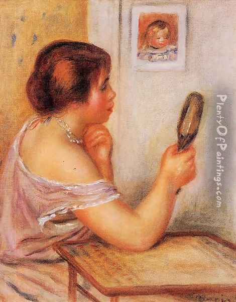 Gabrielle Holding A Mirror With A Portrait Of Coco Oil Painting - Pierre Auguste Renoir