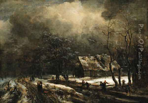 A winter landscape with peasants on a road and skaters on a frozen river, a cottage nearby Oil Painting - Jacob Van Ruisdael