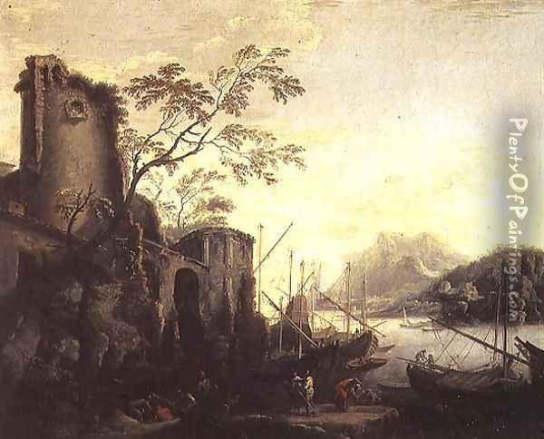 River landscape with boats and ruins Oil Painting - Salvator Rosa