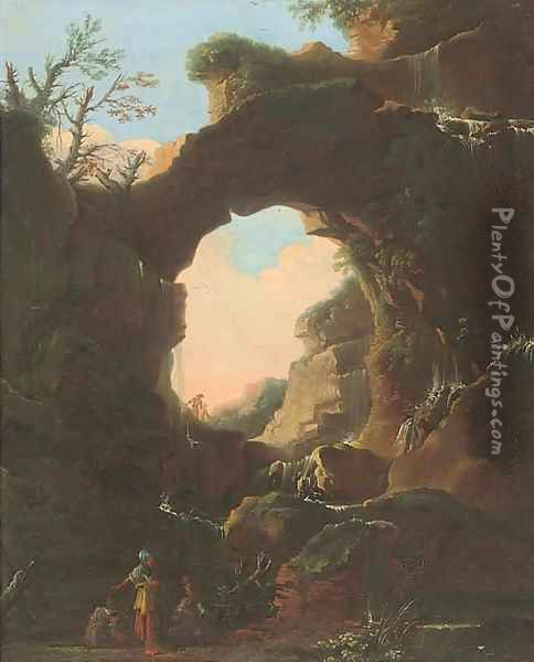 A grotto with a waterfall, figures conversing in the foreground Oil Painting - Salvator Rosa