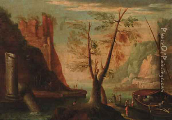 A coastal inlet with figures by a moored boat, a hilltop ruin beyond Oil Painting - Salvator Rosa
