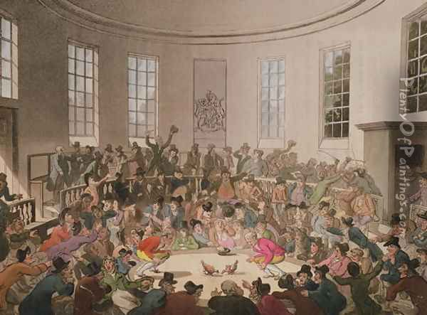 Royal Cock Pit, 1808, engraved by John Bluck Oil Painting - T. Rowlandson & A.C. Pugin